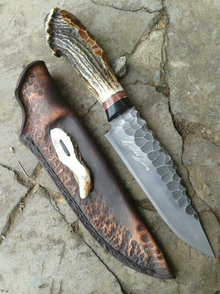 Handmade Bowie Knife With Real Deer Antler Knife Knives And Swords Knife Making