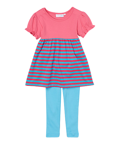 Comfy Hot Pink and Turquoise Striped Swing Top with Leggings