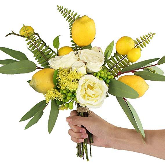 Rinlong Artificial Flower Arrangements Lemon Decor Spring Silk Flowers Bouquet Rose Eucalyptus Leaves De Lemon Decor Leaf Decor Lemon Kitchen Decor