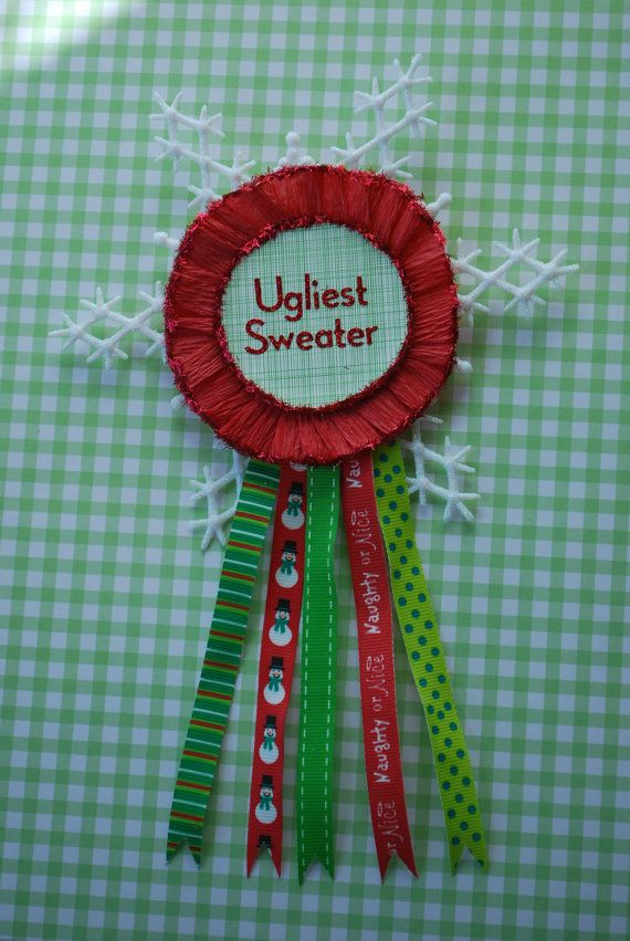 Christmas Party Award Ideas Part - 42: Ugly Christmas Sweater Party Award Pin By SissyBoomsPartyRoom