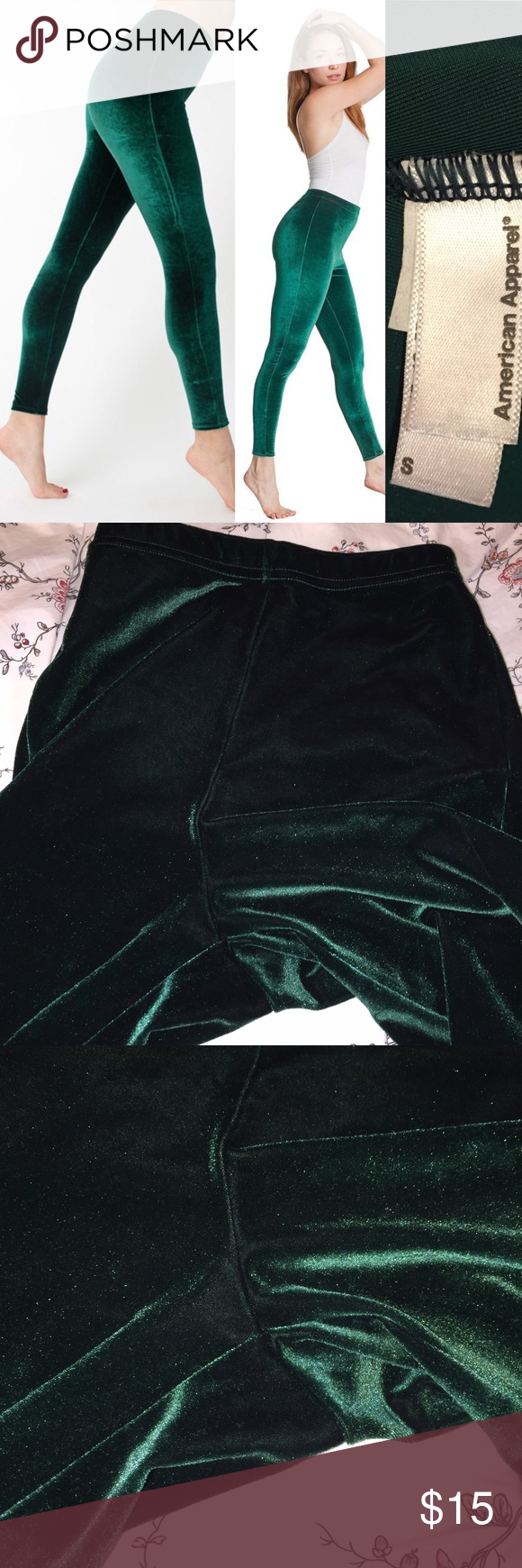 995f8347b8a0e AA EUC like new green velvet legging size S Excellent used condition American  Apparel green velvet leggings in size Small. Worn 2x at home for a few  hours ...