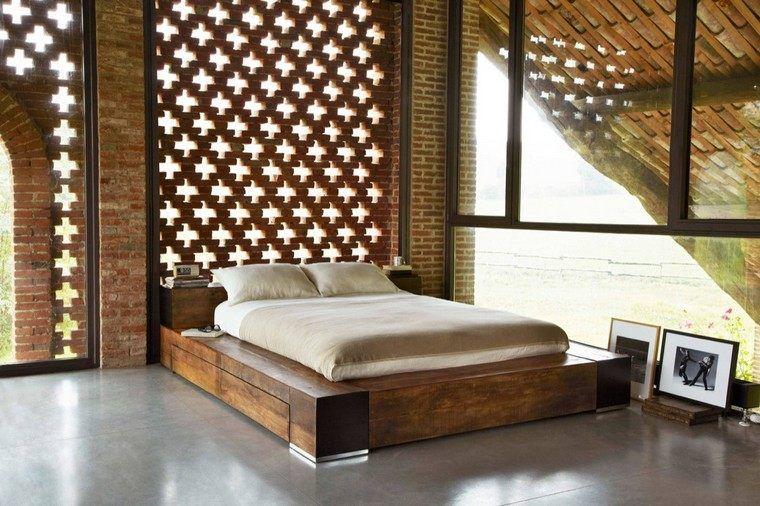 Mur en briques  un bel accent dans la chambre à coucher - mur en bois interieur