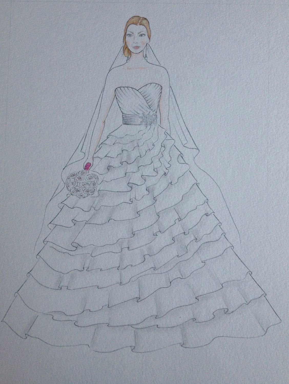 Custom bride portrait, bride with veil original drawing, paper ...
