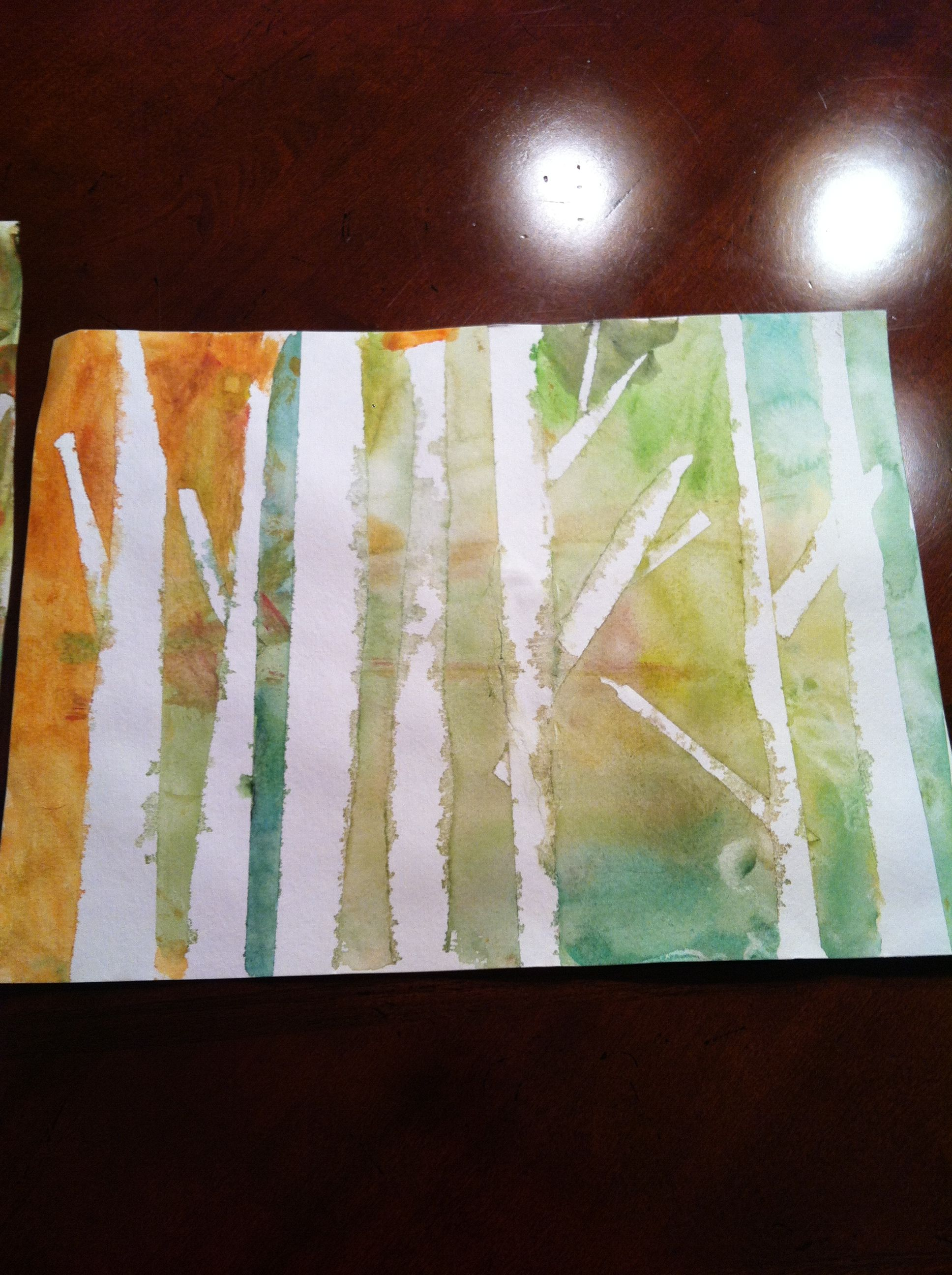 Watercolor Version Masking Tape On Watercolor Paper Rip Off Small Pieces For Branches Use Yellow Green And Red Paint Red Paint Painting Watercolor Paper