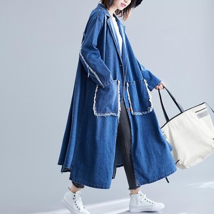 Blue Plus Size Women Jackets Denim Long Coat Oversize 2