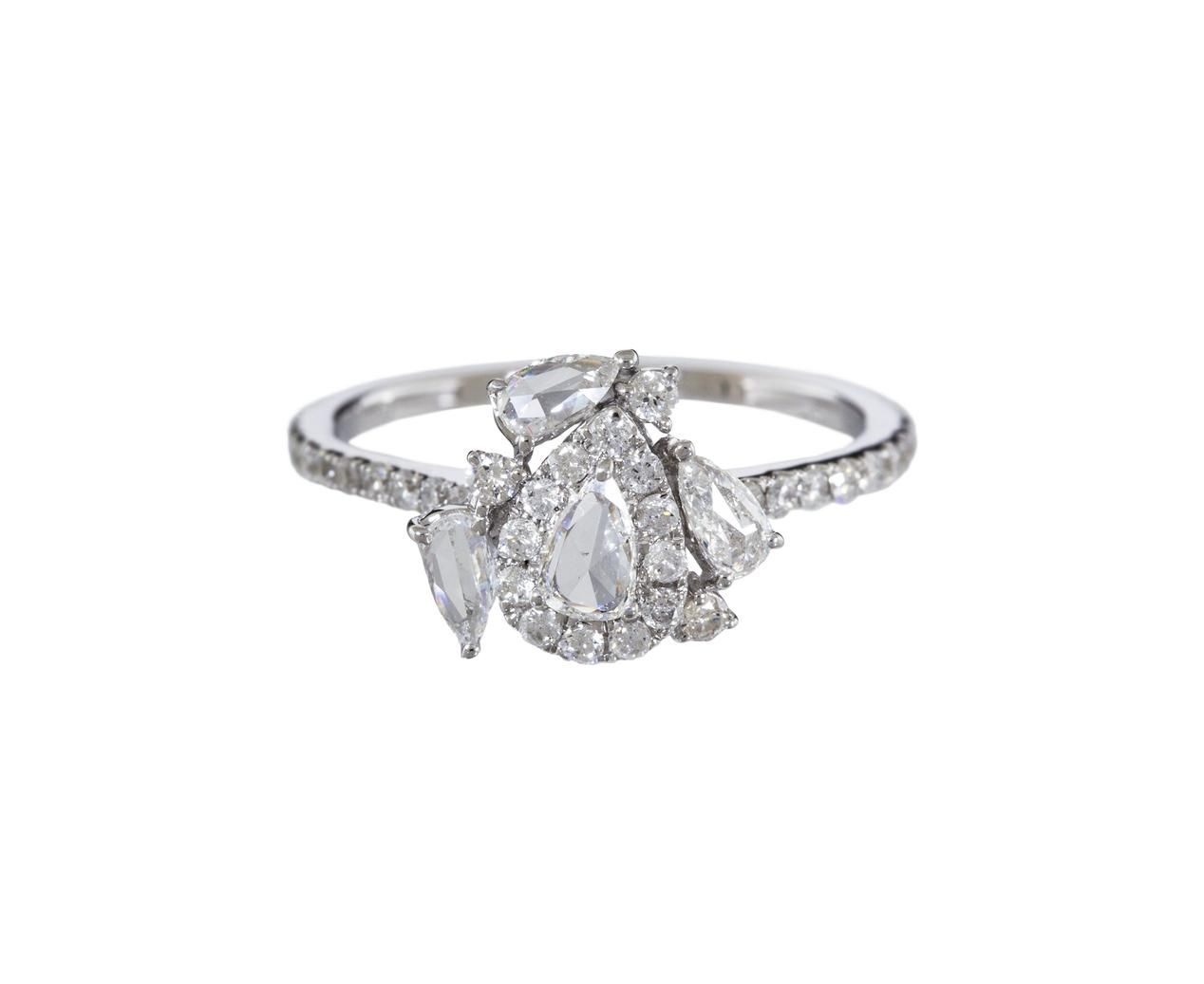Pear shaped diamond mosaic solitaire pear diamond rings