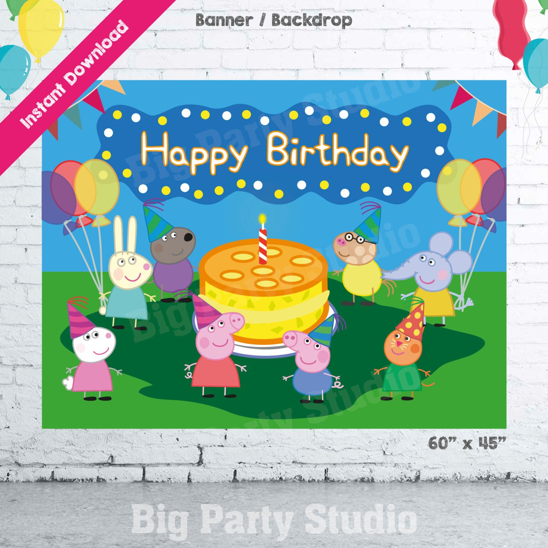 Peppa Pig Banner Peppa Pig Birthday Banner By: Peppa Pig Happy Birthday Backdrop, Peppa Pig Banner, Peppa