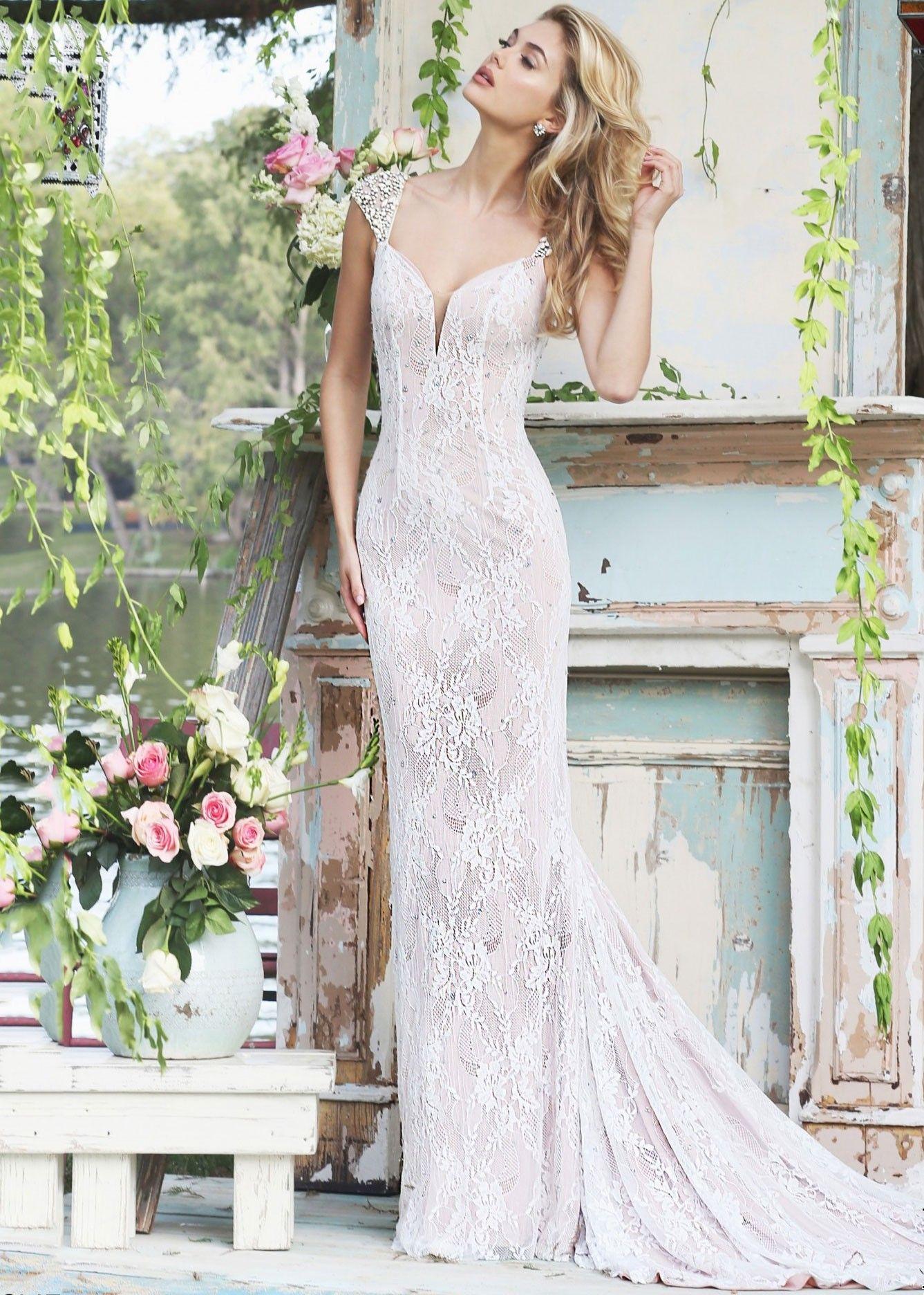 Sherri hill lace wedding dress  Sherri Hill  Gorgeous Jeweled Lace Evening Gown  Lace evening