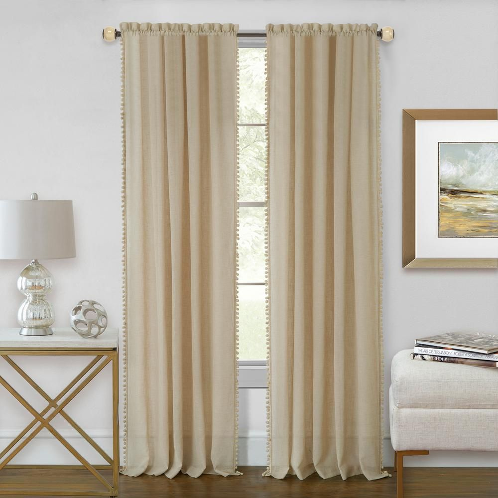 Achim Wallace 52 In W X 63 In L Polyester Rod Pocket Curtain