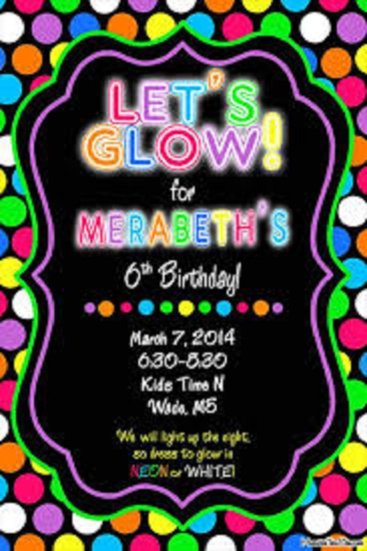 neon party invitations templates free  Party invite template