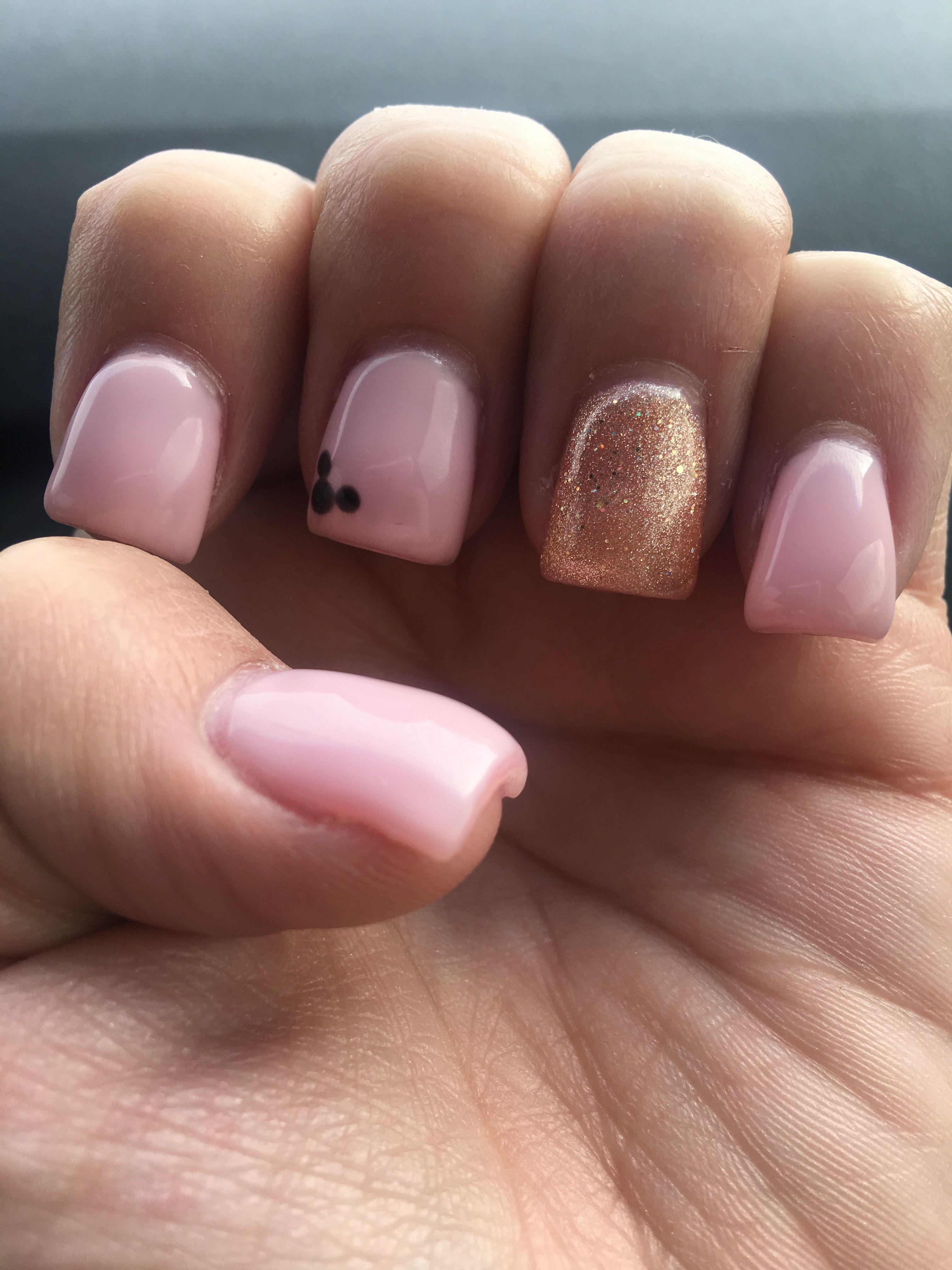 Pink With Rose Gold Disney Nails Mickey Nails Nails Disney Nails