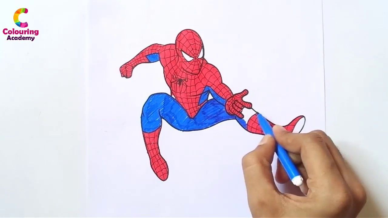 How To Draw Spiderman And Colour Spiderman Coloring Spiderman Colori Spiderman Coloring Spiderman Drawing Coloring Books
