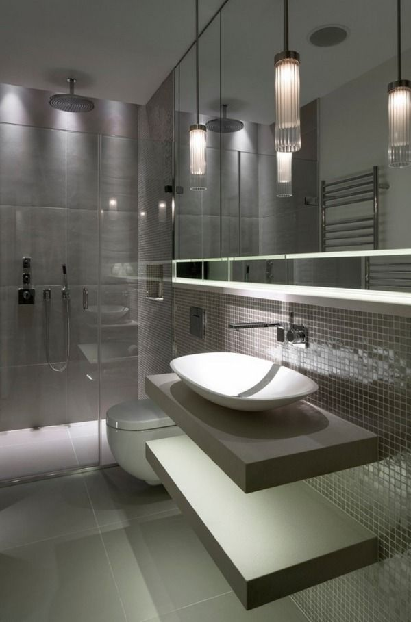 Contemporary bathroom design gray tiles modern lighting bowl sink also