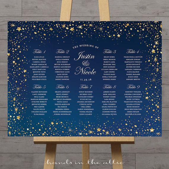 Stars wedding seating chart, celestial night, silver gold stars ...