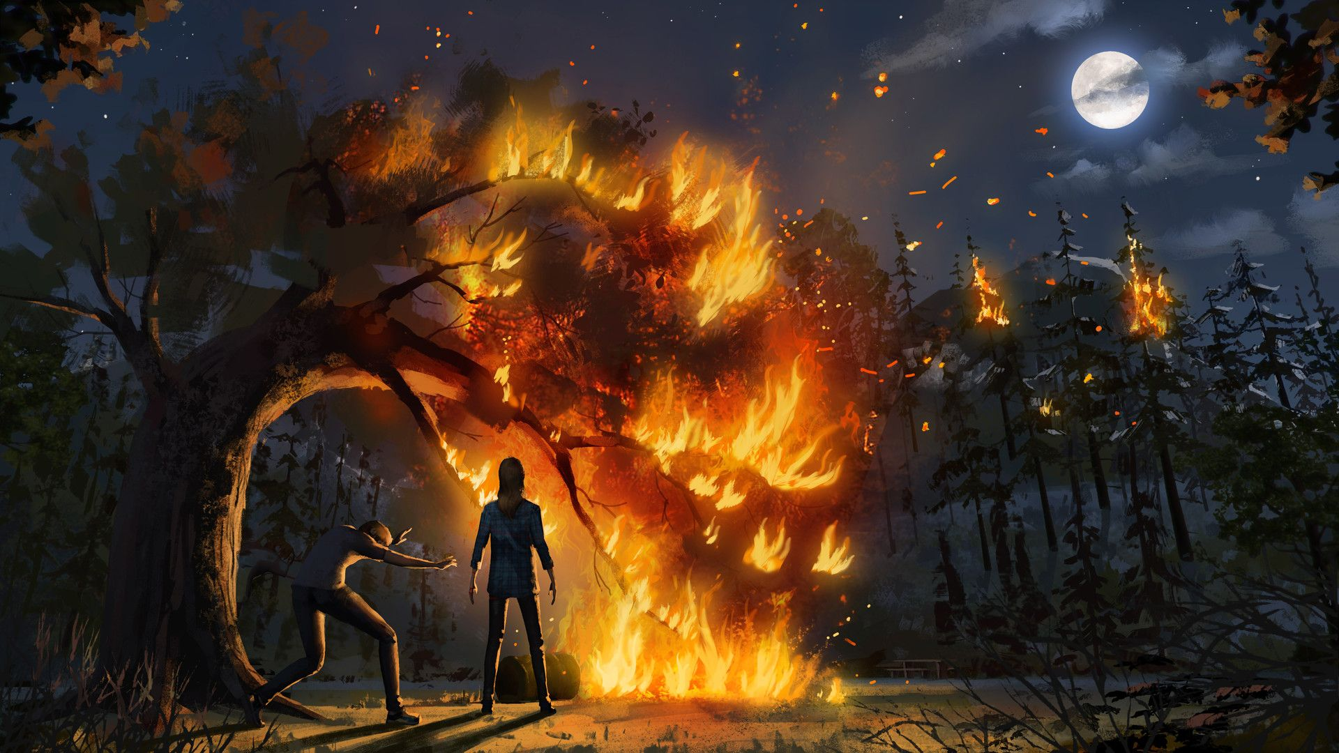 Life Is Strange Before The Storm Concept Art Rachel Starts A Small Fire Life Is Strange Life Is Strange Wallpaper Rachel Life Is Strange