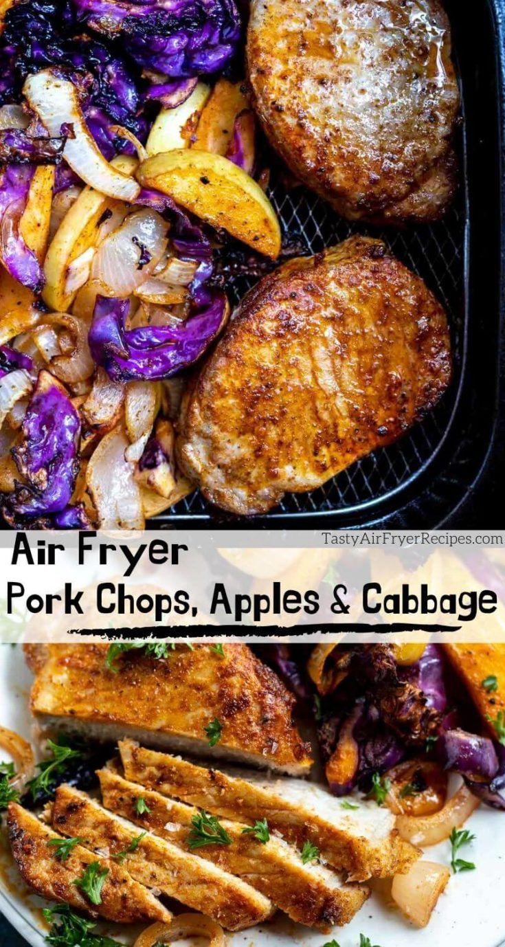 Air Fryer Pork Chops with Apples and Cabbage is an all in