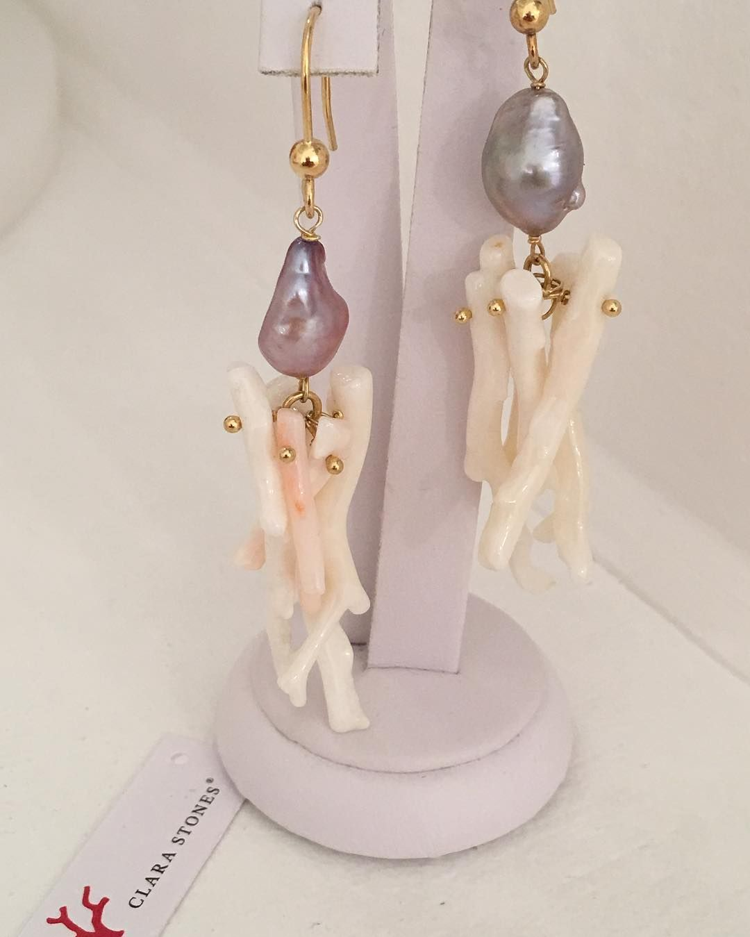 Medusa Earring collection , made with Japanese White Coral and Green