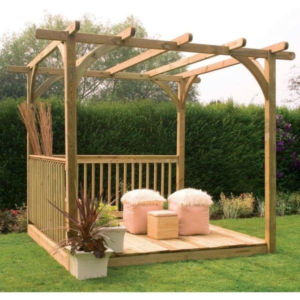 Pergola Im Garten Holz Gartenlaube Offen | Sitzplatz Sichtschutz ... Holz Pergola Rutikal Garten