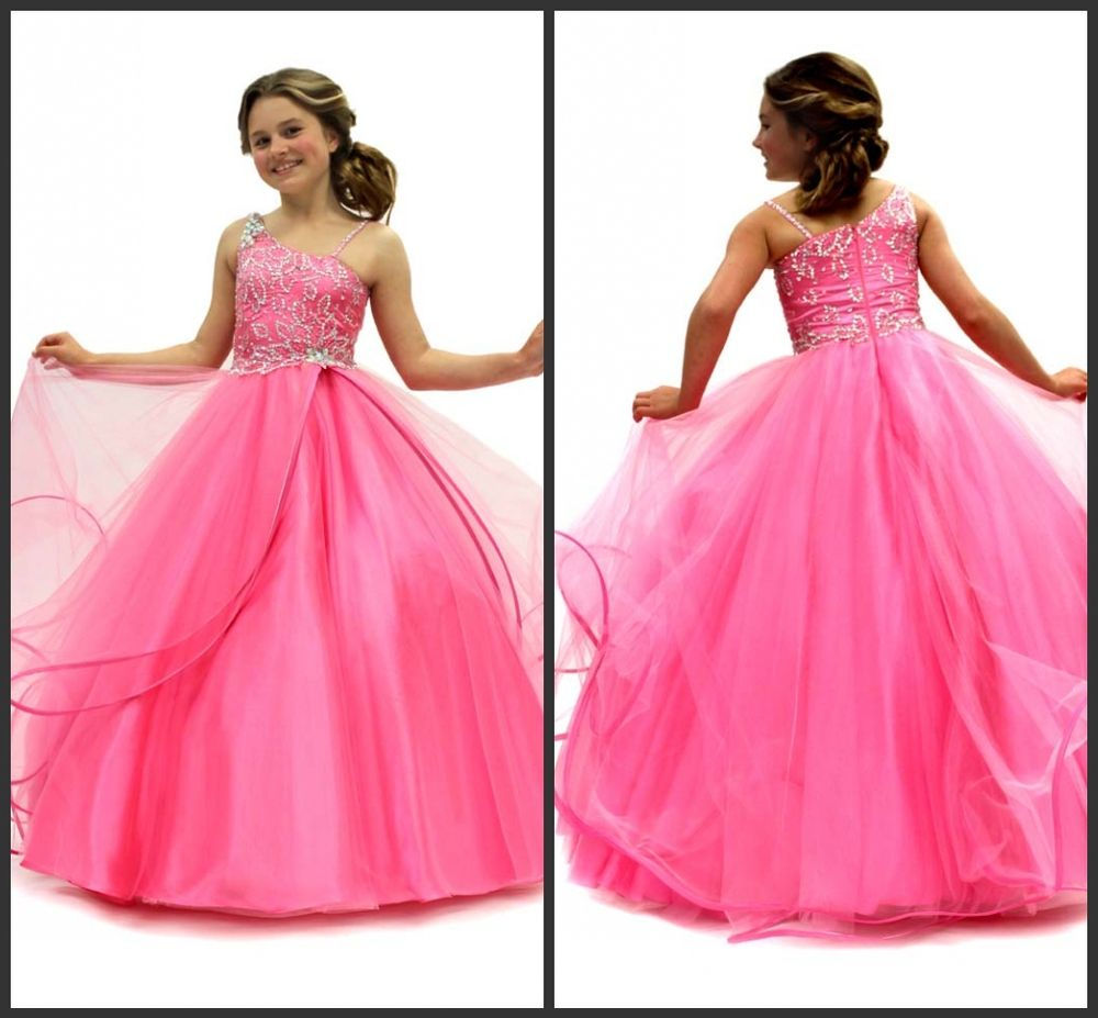 2013 New arrival Pink puffy kids pageant Ball gown floor length ...