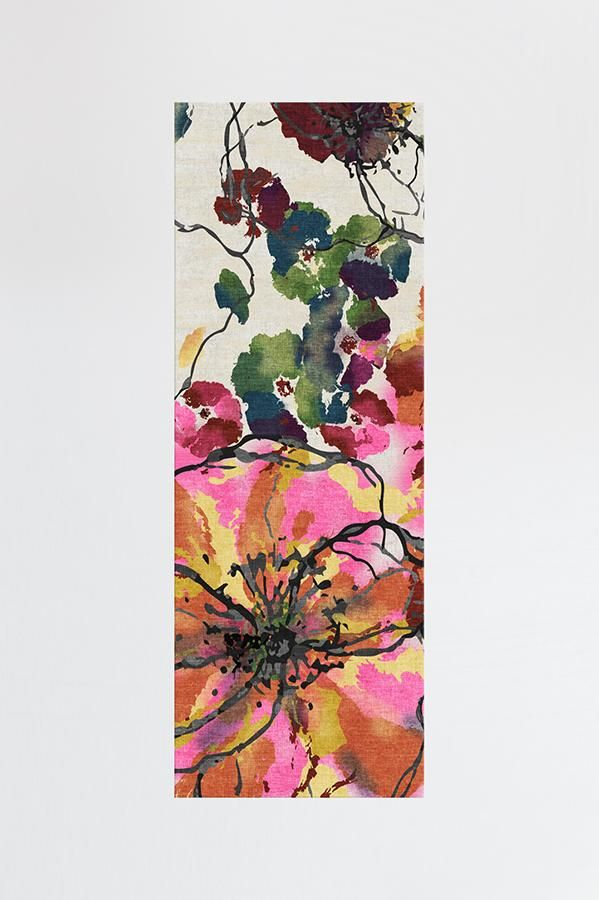 Ruggable Washable Rug Cover Pad Watercolor Floral Multicolor
