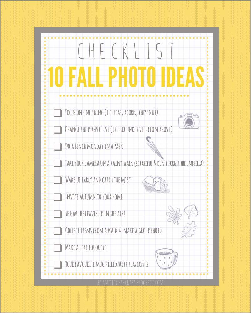fall photo Props checklist ♥Coffee Mugs, leaves, dark shaded umbrellas, apples, weave basket, etc.