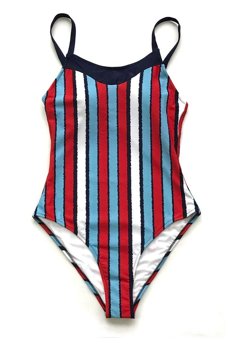 Graceq Cupshe Cupshe Blue And Red Stripe One Piece Swimsuit Graceq Com Striped One Piece Plunging One Piece Swimsuit Swimsuits