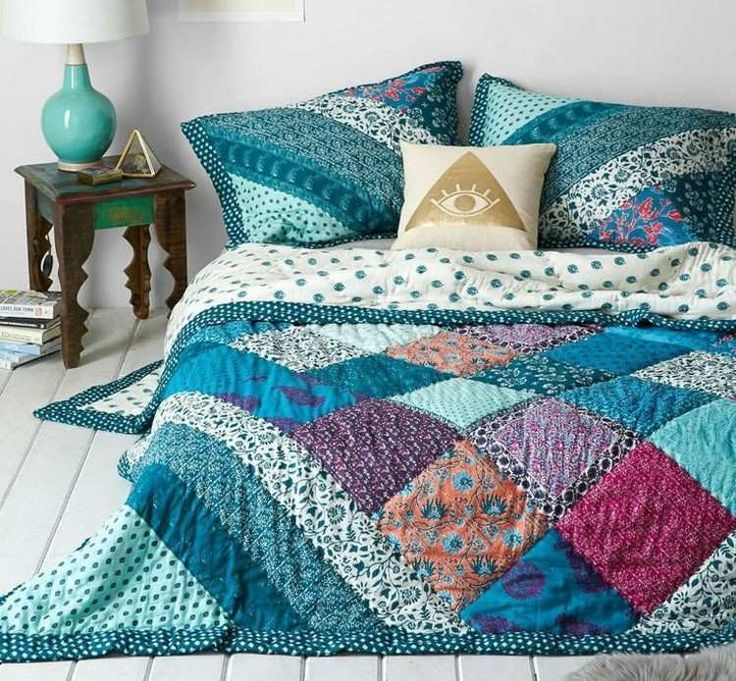 Patchwork Bedspread In Blue Nuances Bedspread Nuances Patchwork