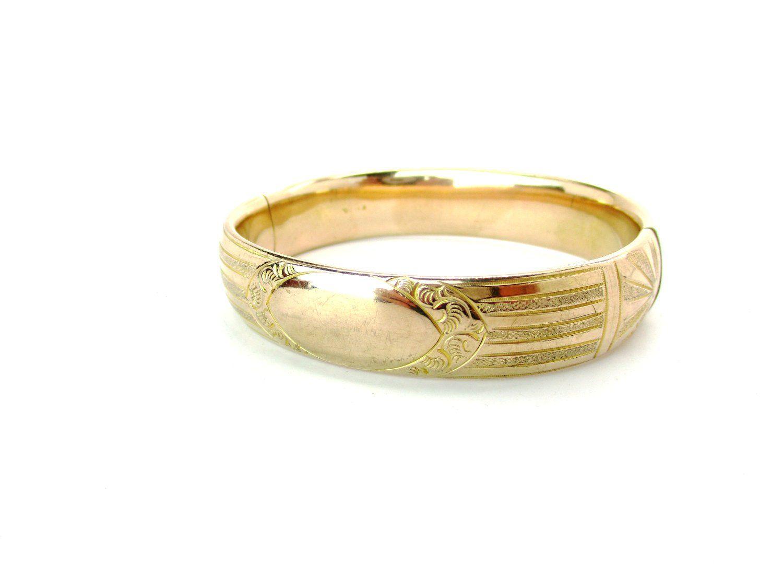 Vintage Gold Filled Hinged Bangle Bracelet with 10K Green and Rose Gold Leaves