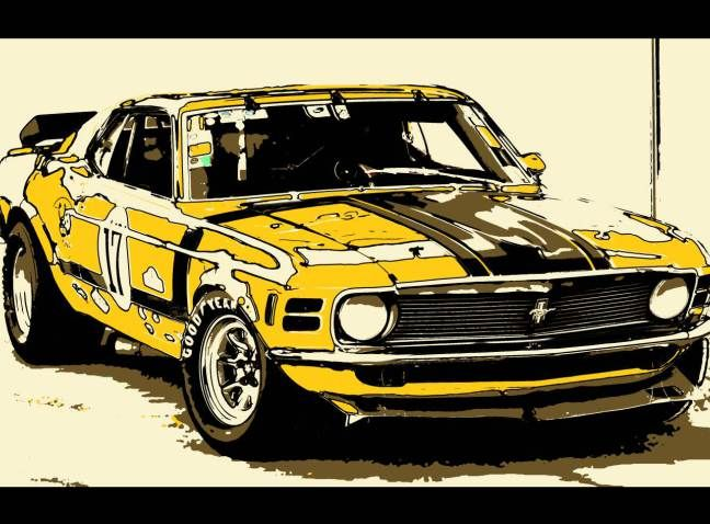 tableau voiture americaine ancienne ford mustang peinture jaune art cars pinterest cars. Black Bedroom Furniture Sets. Home Design Ideas