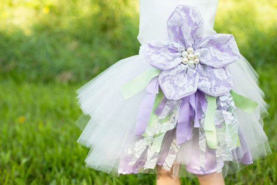 Lace Accent Flower Girl Dress--Tulle Skirt--Removable BellaBlossom Flower--Perfect for Weddings