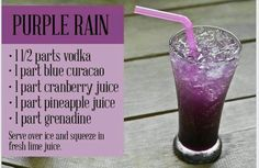 Purple Rain / 1 1/2 parts vodka / 1 part blue curaçao / 1 part cranberry juice / 1 part pineapple juice / 1 part grenadine