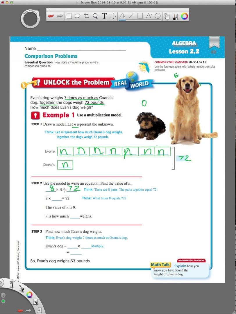 Go Math 2 2 Modeling Comparison Problems Go Math Math Addition Worksheets Everyday Math [ 1080 x 812 Pixel ]