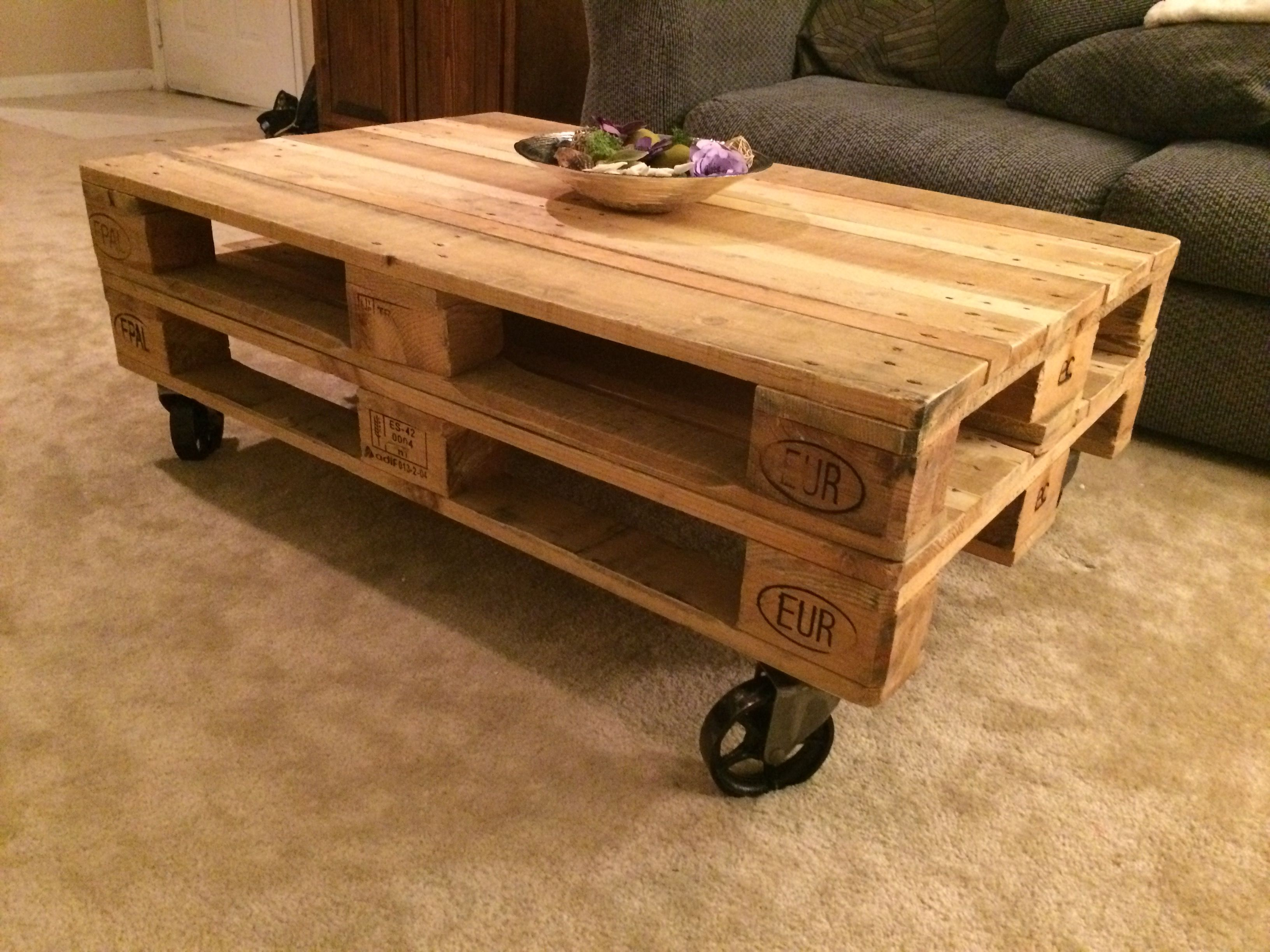 Very Cool Coffee Table Made From Double Stacked Reclaimed Wood Pallets On Top Of Spoked Vintag Coffee Table With Wheels Coffee Table With Casters Coffee Table [ 2448 x 3264 Pixel ]