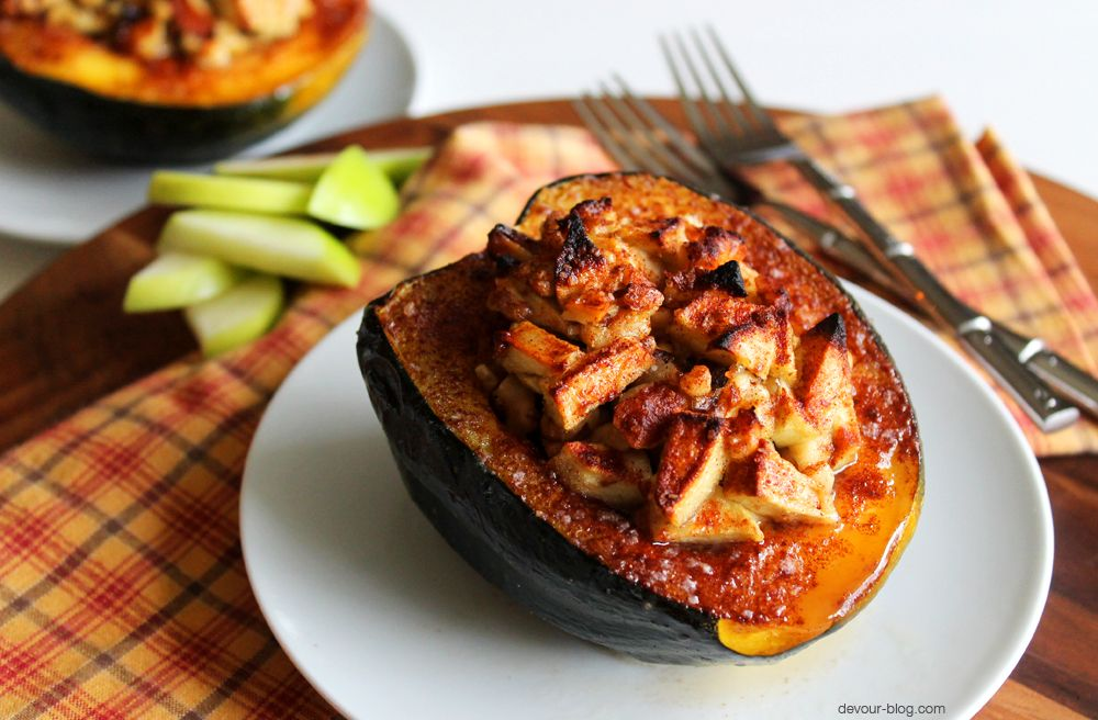 Baked Acorn Squash With Apples And Brown Sugar Feels Free To