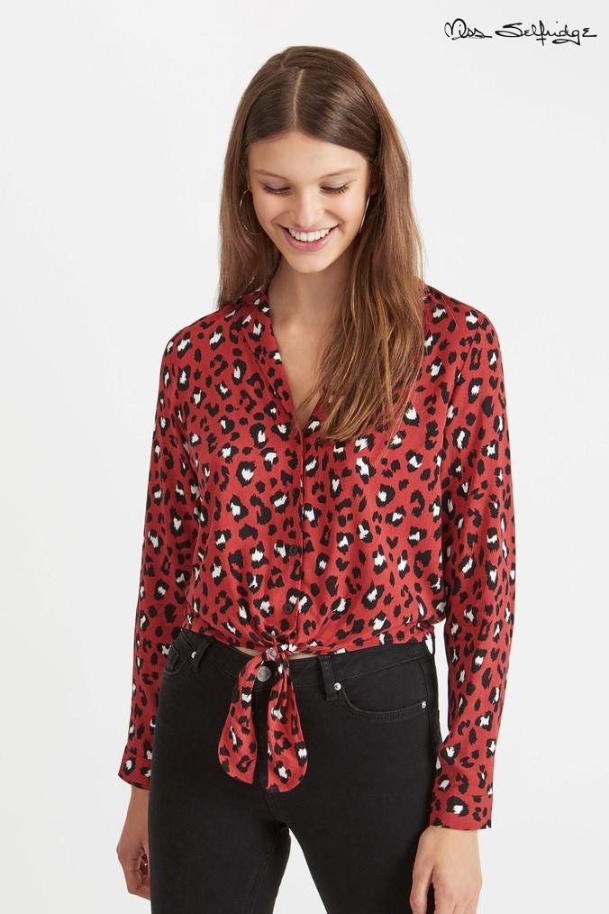 0256e40f1c8e Womens Miss Selfridge Open Collar Animal Print Shirt - Red ...