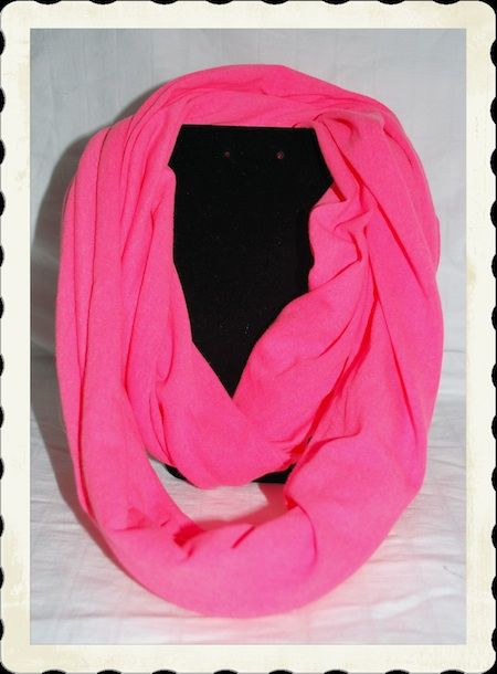 Infinity Scarf Beautiful jersey knit coral pink infinity scarf. The scarf measures 28 inches long. Other colors coming soon.