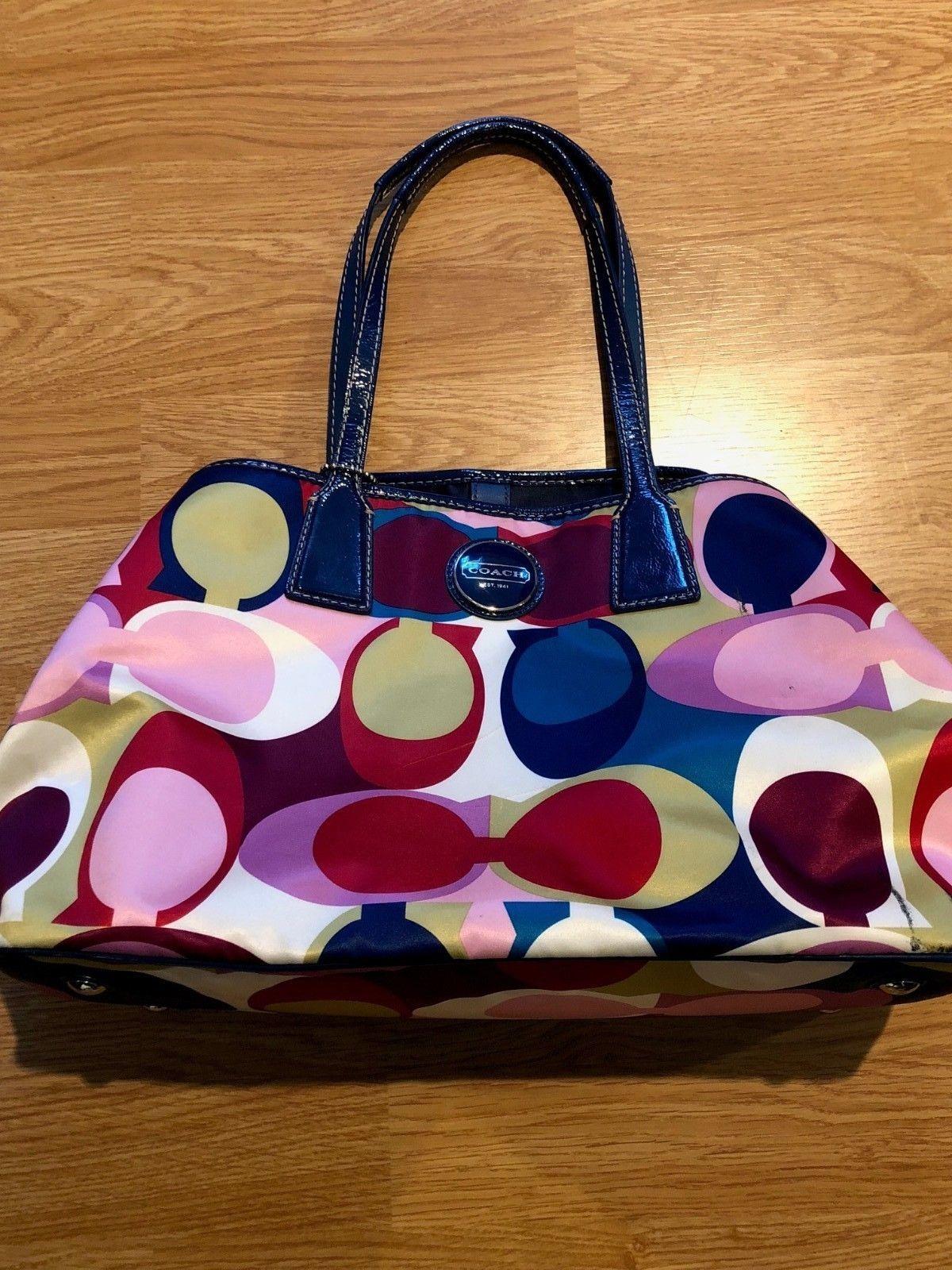 12e59d0f95 COACH Signature Scarf Print Multi Color Sateen Handbag No F1076-F15662