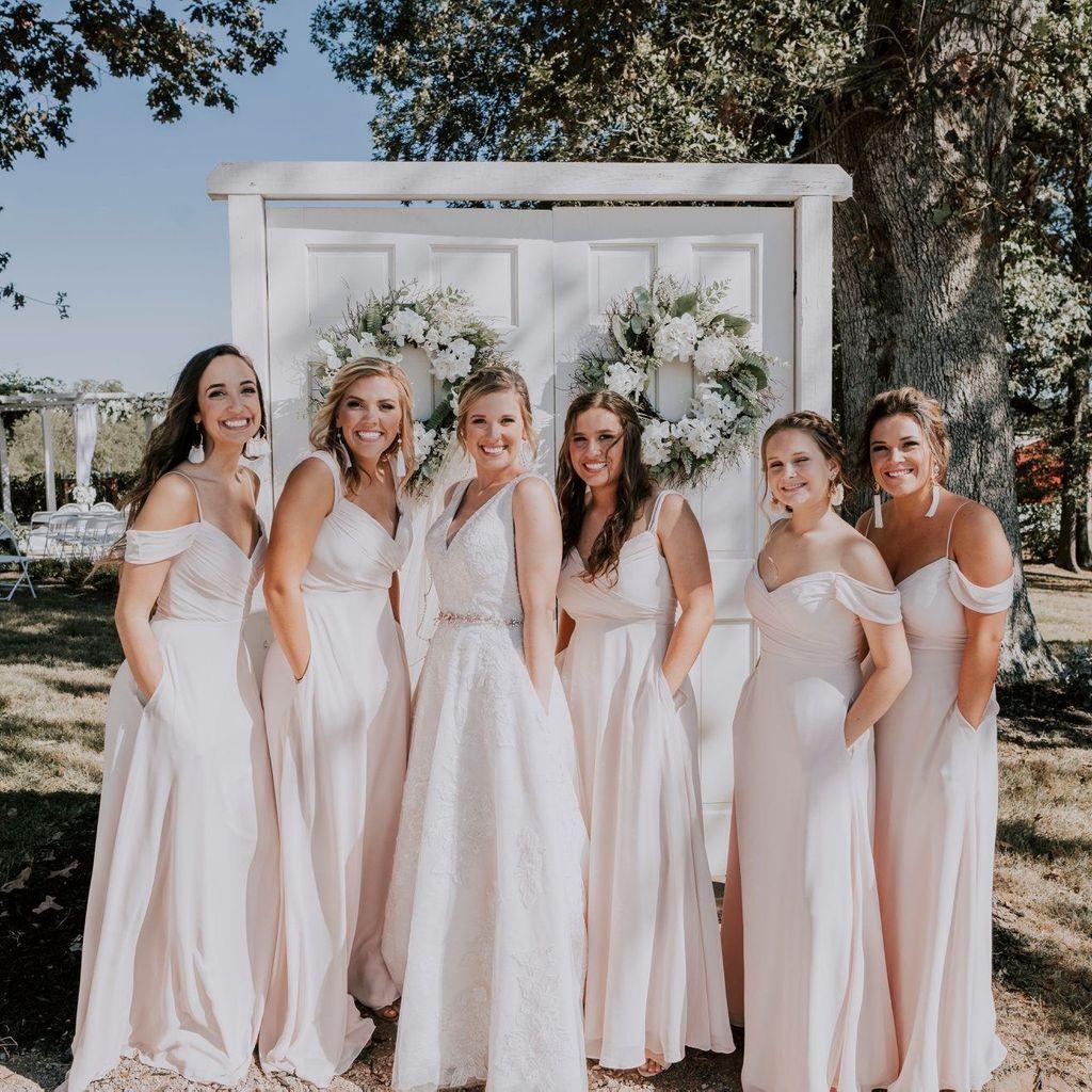 Off The Shoulder Bridesmaid Dress With Cascade David S Bridal Bridesmaid Off Shoulder Bridesmaid Wedding Dresses [ 1024 x 1024 Pixel ]
