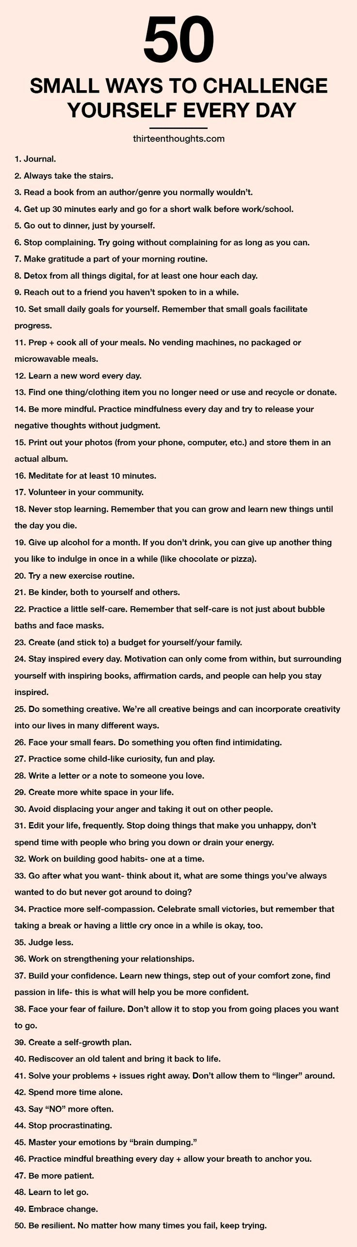 50 Small Ways to Challenge Yourself Every Day (+ free printable)
