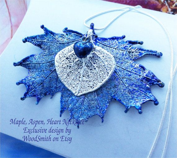 Exclusive real leaves combo necklace, blue patinas, sterling silver, heart charm. WoodSmith on Etsy