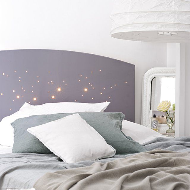 une t te de lit lumineuse tete de etoilee et guirlande. Black Bedroom Furniture Sets. Home Design Ideas