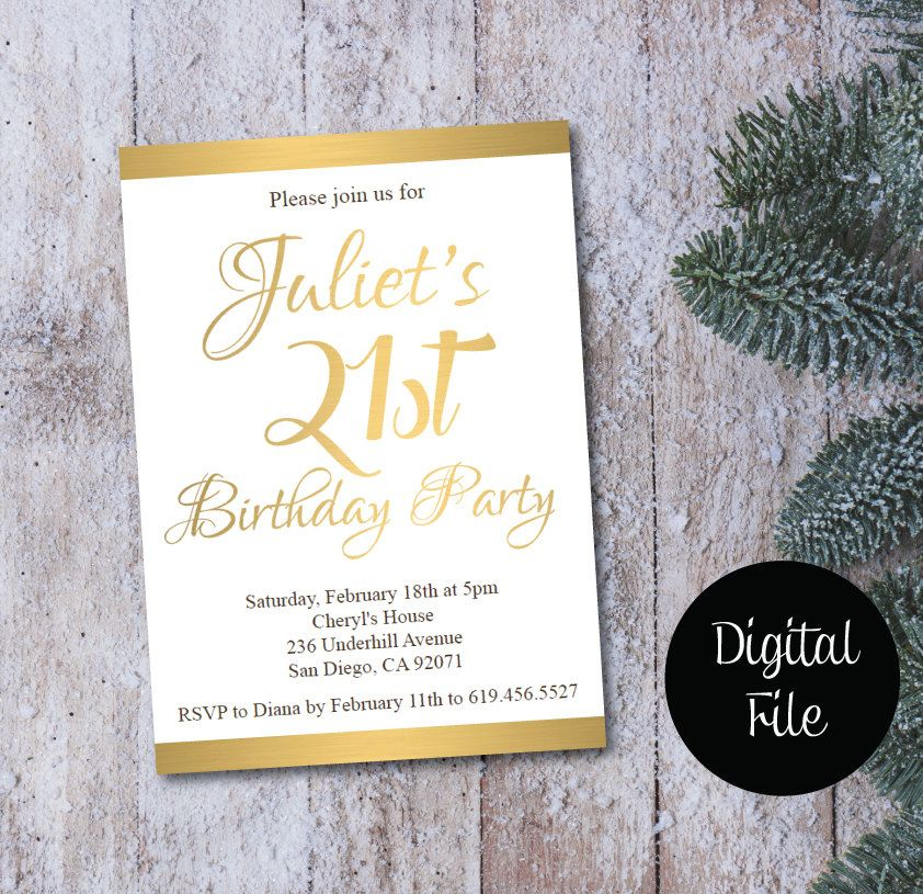 21st Birthday Invitation/Printable Gold & White Birthday Invitation ...