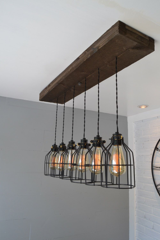Farmhouse Decor Pendant Lighting Wood Light Kitchen