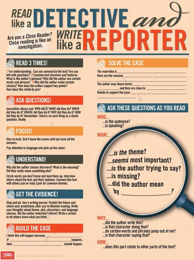 Read Like A Detective Write Like A Reporter Poster Close Reading Writing This Or That Questions