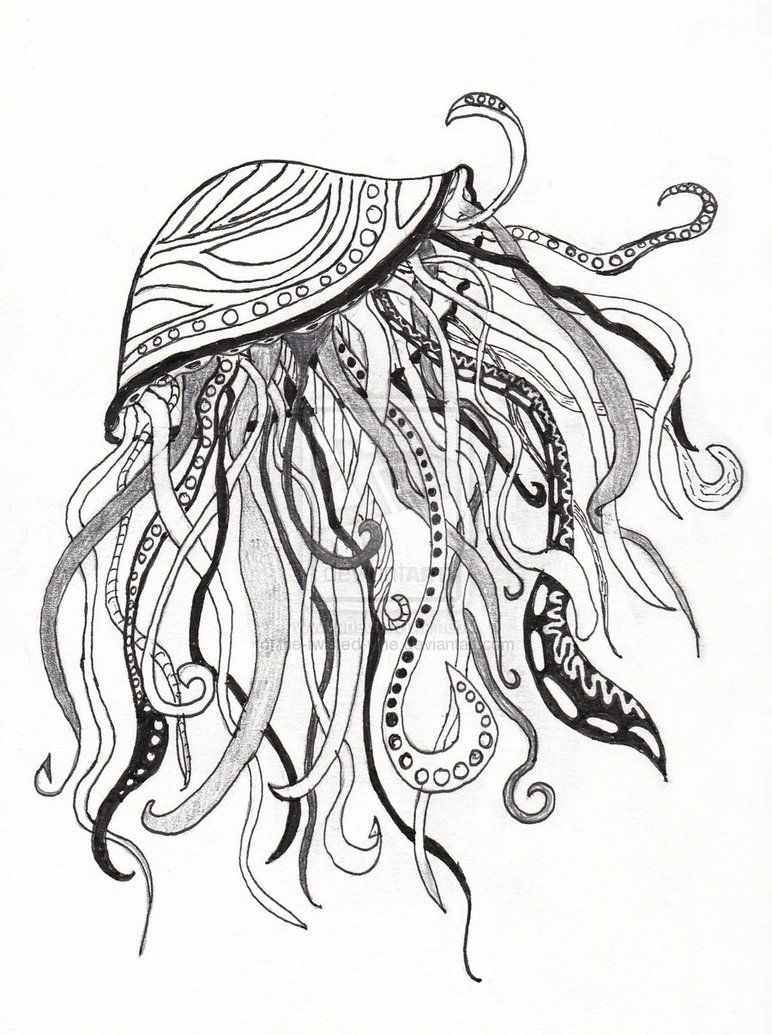 Abstract Jellyfish by thetwistedvine Octopus drawing