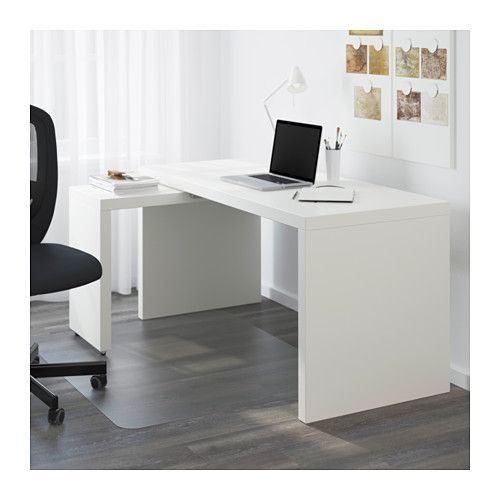 MALM デスク 引き出し式パネル付 - ホワイト - IKEA ¥16990