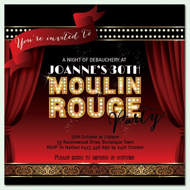 Moulin Rouge Birthday Invitations