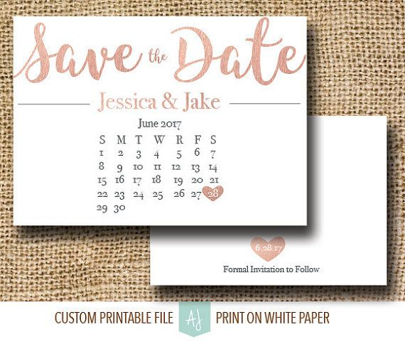 Matching Save The Date And Wedding Invitations: Rose Gold Save The Date With Calendar. Click Through To