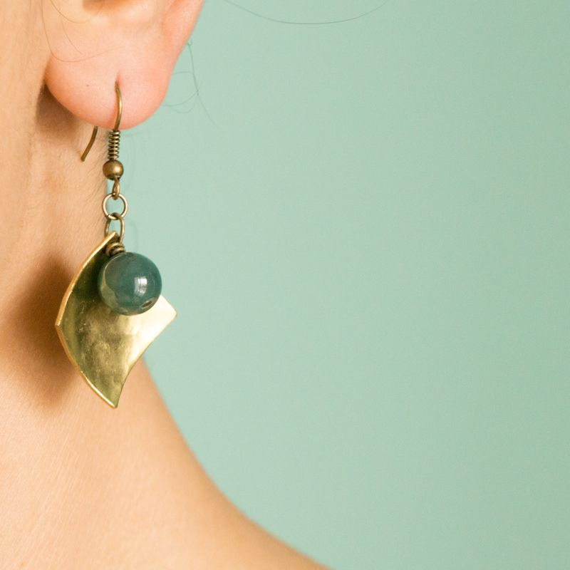 Hand Made Pure Brass Earrings With Jade