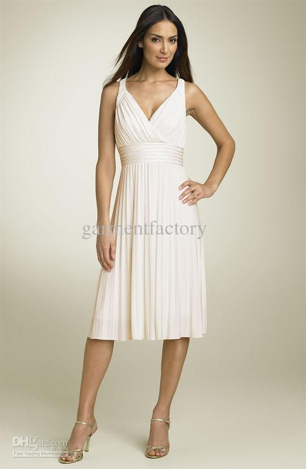 eb4398a6ed487b Simple Bridesmaids Dresses For Cheap V-Neck A Line Knee-length Ivory  Chiffon Beach Party Dress Wedding Guests Dresses from garmentfactory,  $84.56 | DHgate ...